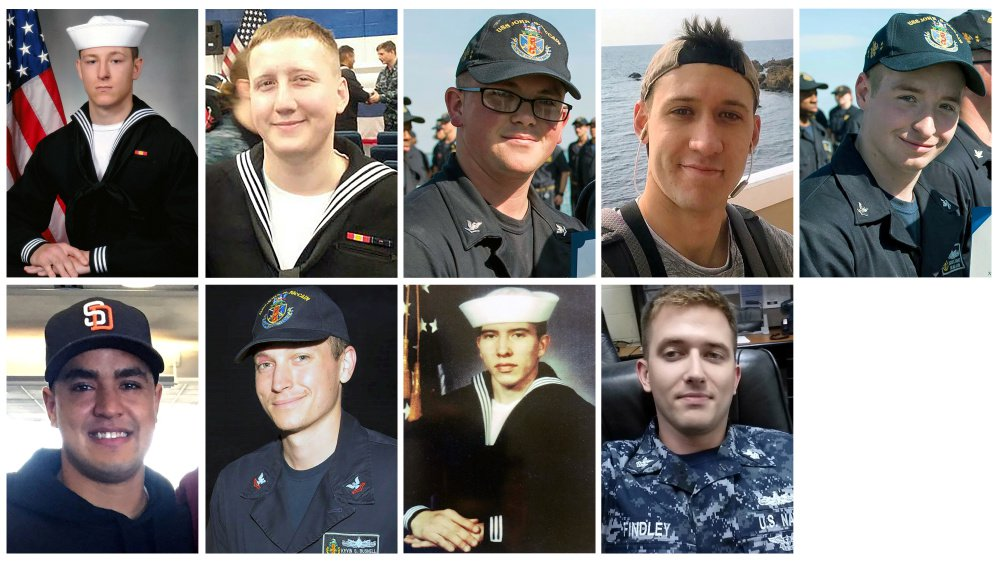 A combination photo showing (from L to R, top) Electronics Technician 3rd Class Kenneth Aaron Smith, Interior Communications Electrician 3rd Class Logan Stephen Palmer , Electronics Technician 3rd Class John Henry Hoagland III, Electronics Technician 3rd Class Dustin Louis Doyon, Electronics Technician 3rd Class Jacob Daniel Drake, (from L to R, bottom) Information Systems Technician 2nd Class Timothy Thomas Eckles Jr. , Electronics Technician 2nd Class Kevin Sayer Bushell, Interior Communications Electrician 1st Class Abraham Lopez and Electronics Technician 1st Class Charles Nathan Findley, who was stationed aboard the USS John S. McCain when it collided with a merchant vessel in waters near Singapore and Malaysia, August 21, 2017, are shown in these undated photos provided August 24, 2017.
