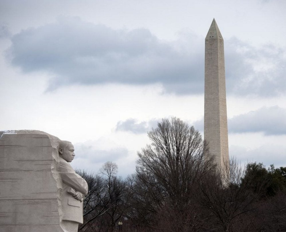The site of the rally Monday: the Martin Luther King Jr. Memorial and the Washington Monument.