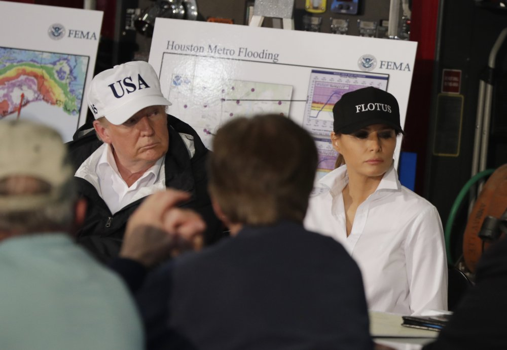 President Trump and first lady Melania Trump participate in a briefing on Harvey relief efforts on Tuesday at Firehouse 5 in Corpus Christi, Texas.