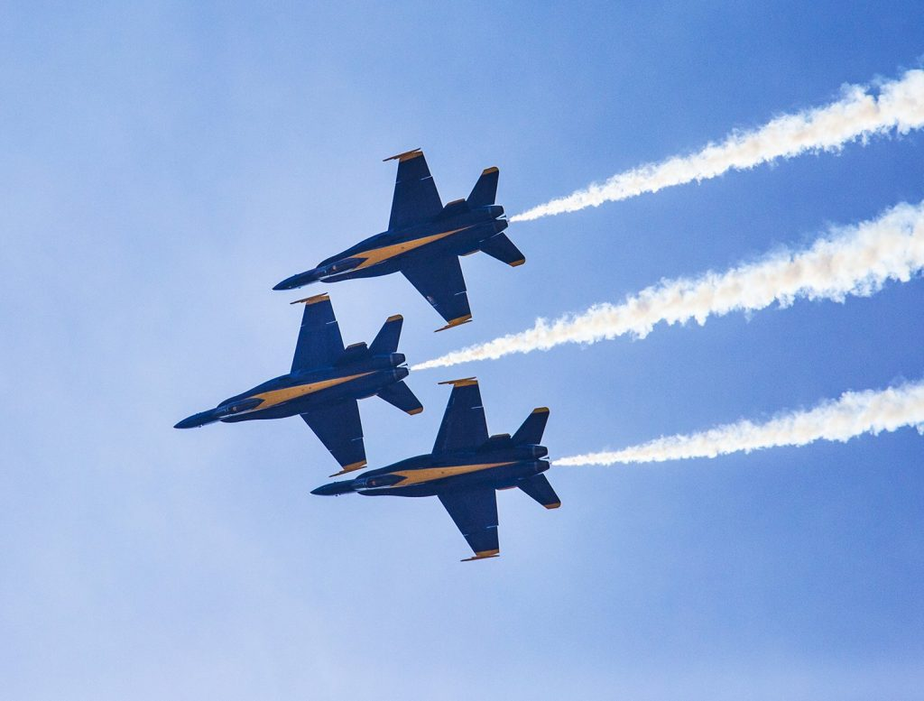 The Blue Angels fly in diamond formation at the Great State of Maine Air Show at Brunswick Landing in 2015.