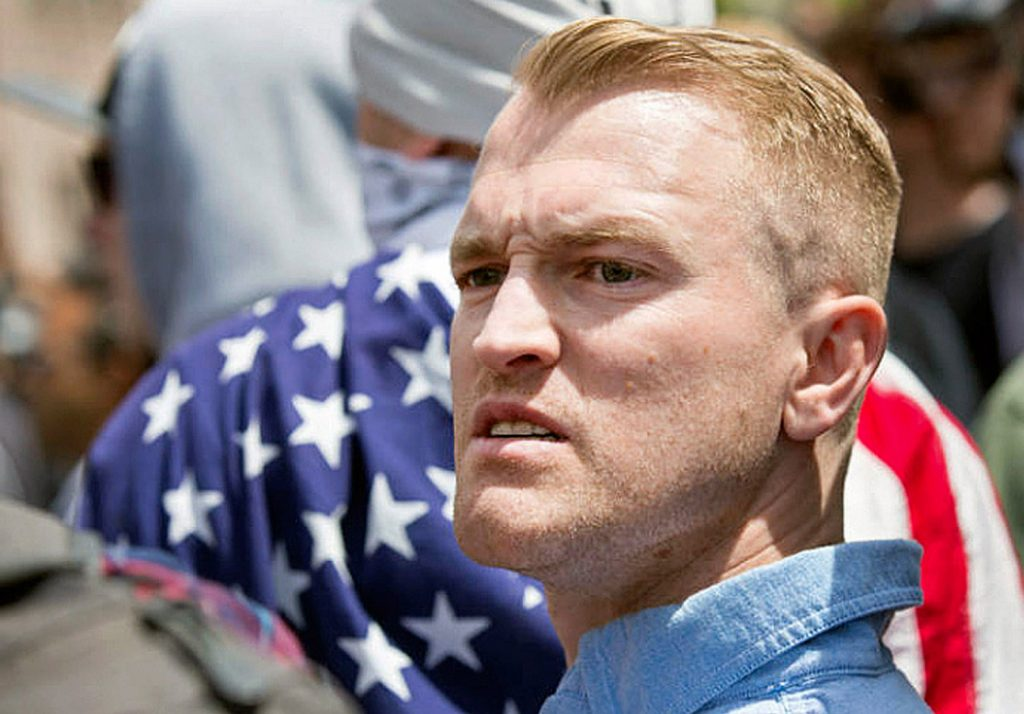 Nathan Damigo, the founder of the white nationalist group Identity Evropa, shown at a right-wing rally in Berkeley, Calif., in April, helped organize the white supremacist rally in Charlottesville, Va., where one counterprotester was killed on Saturday.