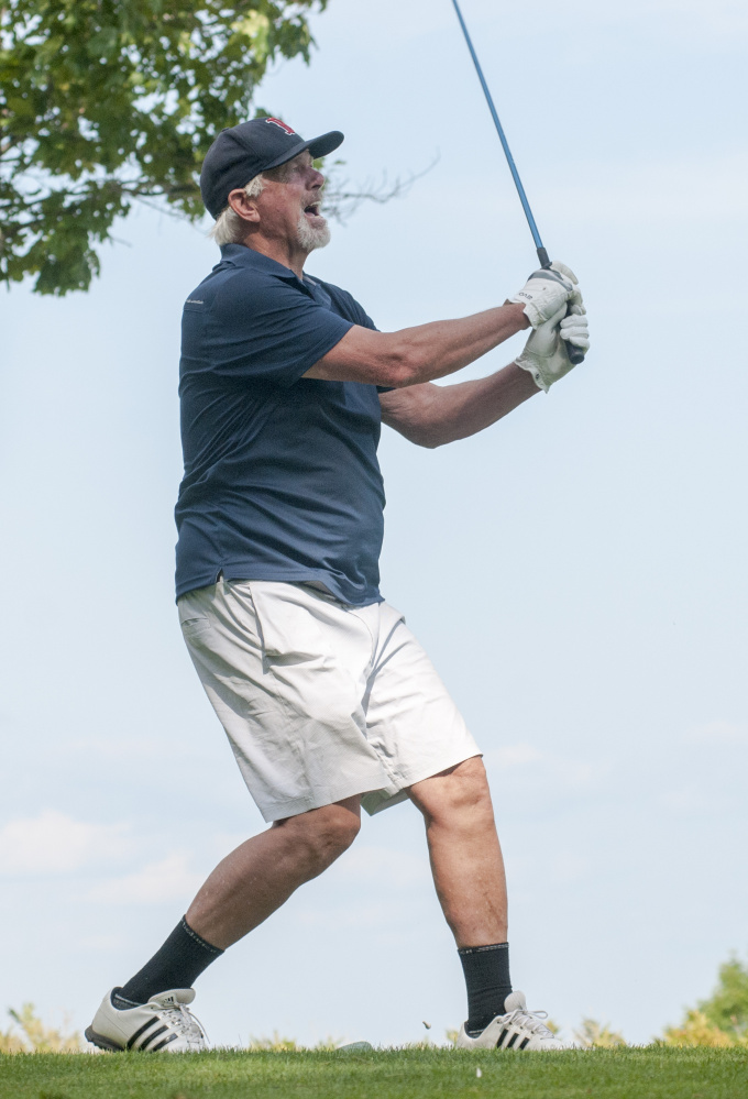 Bill Lee watches his tee shot during the Ray Haskell Ford MLB Players Alumni Association golf fundraiser Thursday at Belgrade Lakes Golf Course in Belgrade.