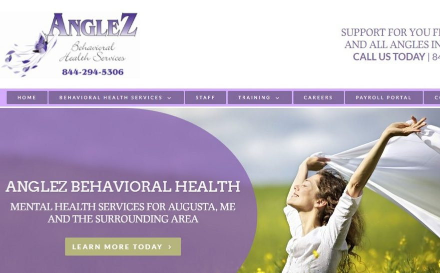 An image showing the website of Augusta-based AngleZ Behavioral Health Services.