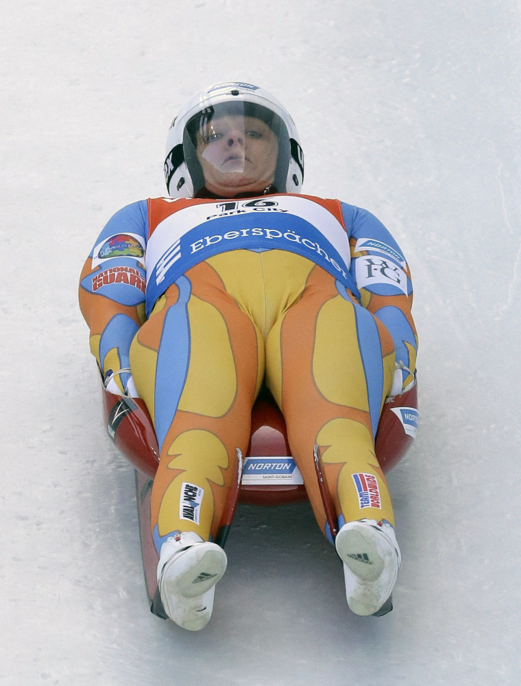 In this 2013 file photo, Augusta native Julia Clukey races down the track during the women's Luge World Cup in Park City, Utah. Clukey — who has been retired from the sport for a year — remains actively involved within the luge community and being a role model for Maine youth.