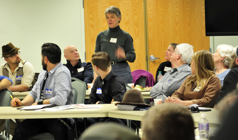 "Maryanne Hayes makes a point during a well attended gathering of  Unity and area residents who gathered Feb. 19 in Unity to discuss historical and current community values and economic opportunities and how to achieve them. After the select board voted down a proposal to hire a marketing professional, Mary Ann Hayes said while volunteers could do some of the marketing work, but they ""have to be motivated."""