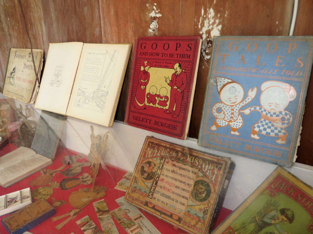 """Goops"" and ""How to be Them,"" ""A Manual of Manners for Polite Infants"" is among in a collection of books, toys and games that held children's interest for almost 100 years. The exhibit will be on display until Columbus Day at the Pownalborough Court House in Dresden."