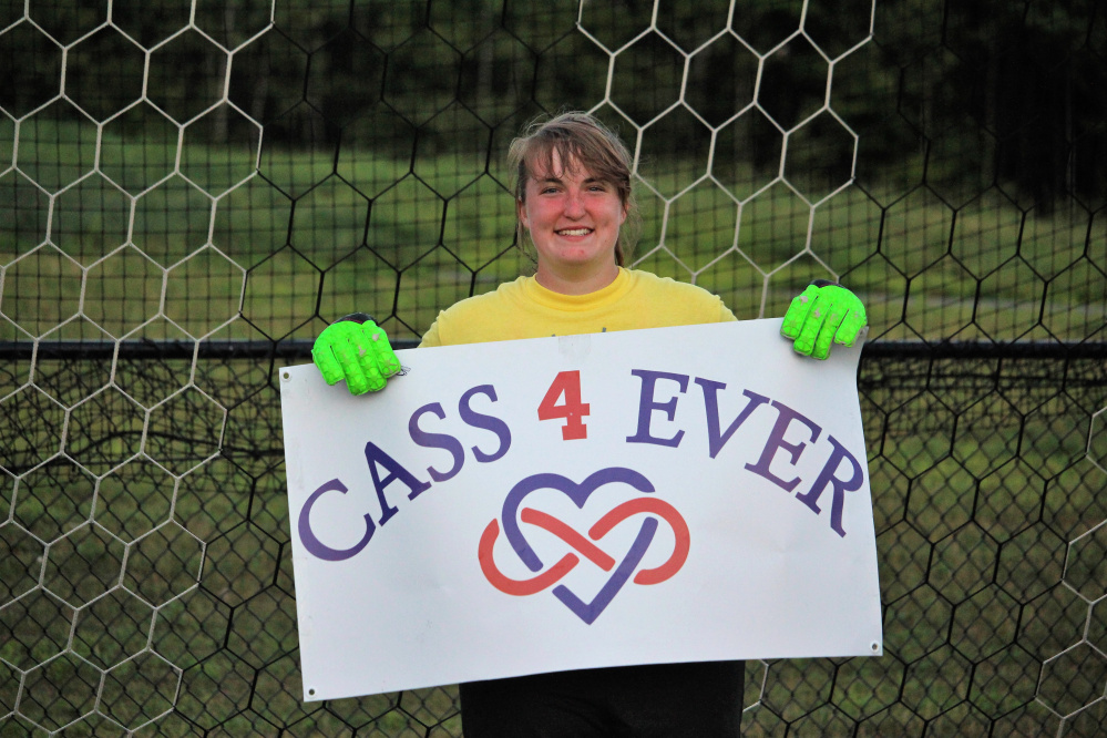 Gabi Martin, former Central Maine United soccer teammate and lifelong friend of Cassidy Charette, tends goal at the 11-hour soccer game Kick Around the Clock for Cass July 16 at Thomas College.
