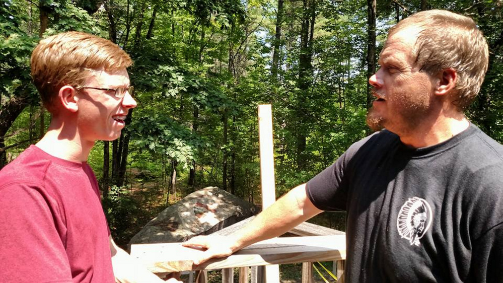 Thomas Robinson, left, of Freeport, interviewed Camp Director Butch Dawbin.