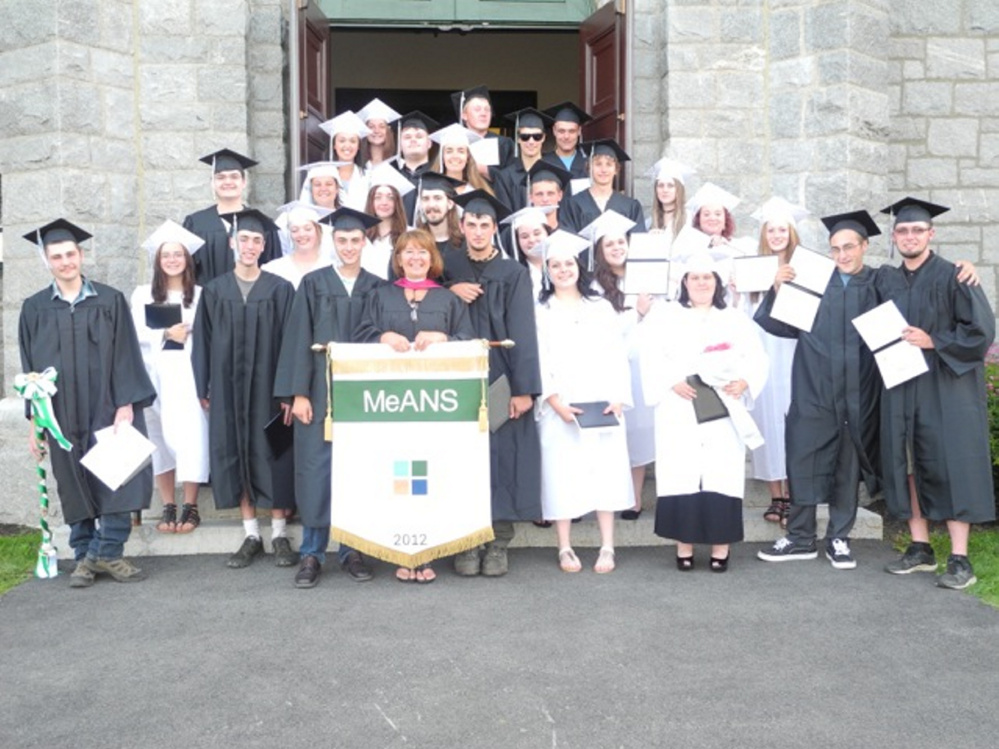 Maine Academy of Natural Sciences 2017 graduate are, in front, from left, are Kayleb Shaw, Olivia Daigle, Samuel Frankenfeld, Jarrett Bearor, Brenda Poulin, retiring director of MeANS' student support center and guest speaker; Tyler Adams, Meaghan Brown, Hannah St. Jock, Isaax Fletcher and Chris Mayo. Second row, from left, are Emma Stevens, StarLa Fox-Lonsdale, Noah Keene, Jasmine Martins, Kayla Plourde and Kayla Giroux-Drew. Third row, from left, are Adam Hewey, Hailley Buzzell, Kade Tibbets and Zoey Dunn. Fourth row, from left, are Alexandra Karter, Cameron Caswell, Leanna Laws, Thomas Berube, Hannes Moll and Lauralynne Fowler. Fifth row, from left, are Charlotte Emerson, Bradley Taylor and Griffin Patchell. Missing from photo are Charles Pike, Robbie Ellis, Benjamin Wolf, Ryan Turano and Peter Rotondi.