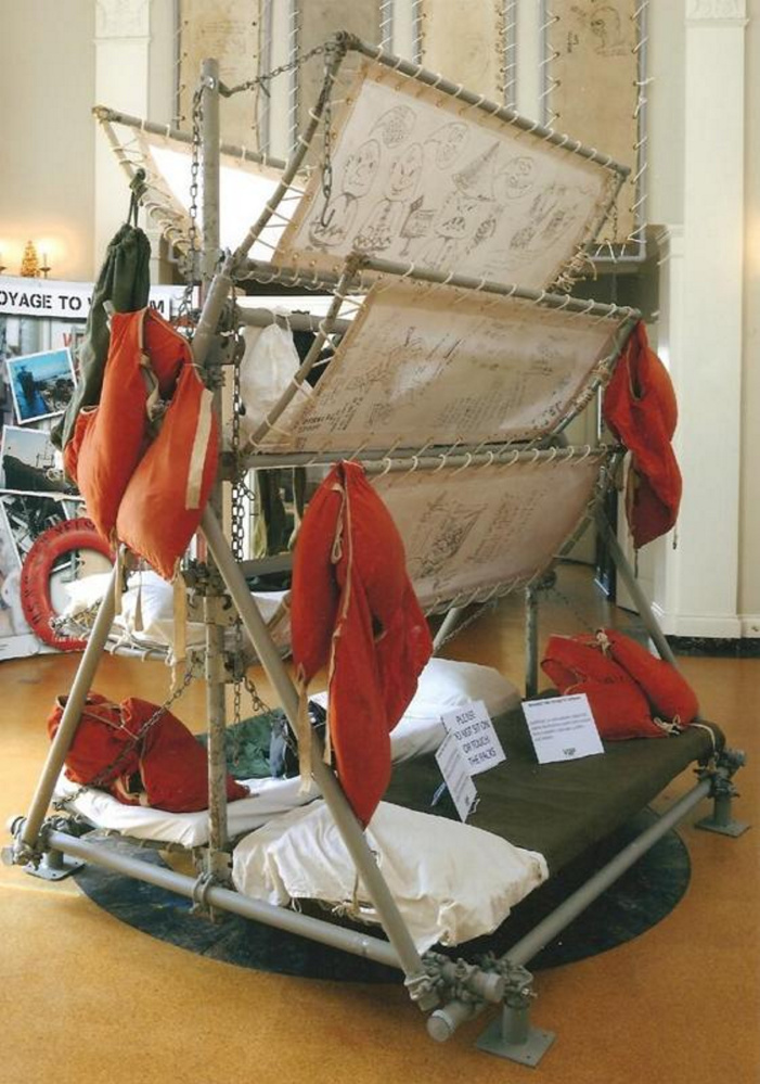 An original 8-man berthing unit, complete with original sheets, pillows and life vests, that was removed from troopship General Nelson M. Walker, which was used in the 1960s to transport troops to Vietnam.