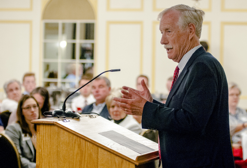 Sen. Angus King, independent of Maine, speaks to the Kennebec Valley Chamber of Commerce on Wednesday at the Senator Inn and Spa in Augusta.