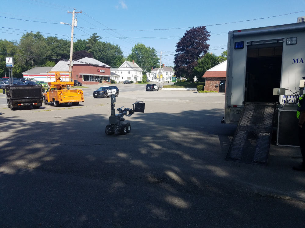 A State Police bomb squad robot was sent to investigate a suspicious package in Skowhegan Wednesday. The package turned out not to be a bomb.