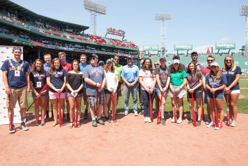 Maine Red Sox Scholars at Fenway Park in Boston, from, from left, are Issiac Christiansen, Kelsey Courtois, Marielle Shaw, Julia-Nicole Perry, Dylan Owens, Sydney McDonald, Emily Harriman, Krista Dearborn, Tiffani Ortiz, Aubra Linn and Taylor Sargent. Second row, from left, are Luke Mitchell, Cameron Morin, Dylan Johnston, Shelby Cronkhite, Sam Burgio, executive vice president at Jenzabar, a presenting sponsor of the New England Service Scholarship Program; Gov. Paul LePage, Jay Darling, of Darling's Bangor Ford; Zoe Zwecker,  McKenna Brodeur, Tucker Barber, Cameron Loeschner and Amanda Alberda. Missing from photo are Matthew Harris, Rosemary Nguyen and Amber Hagin.