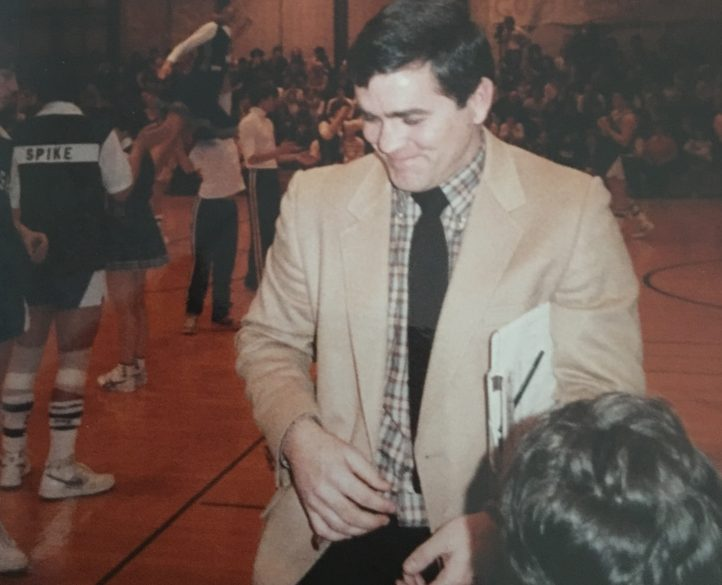 Tom Maines prepares for a basketball game at Morse High School in the early 1990s.