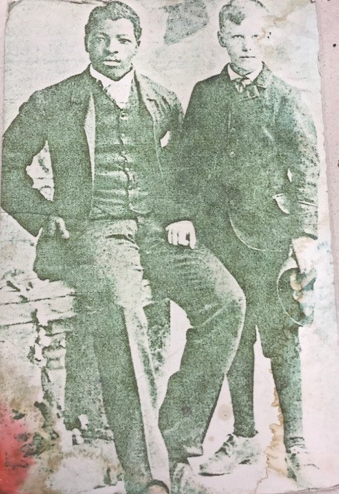 John McAuley, left, born Prince Adeyemi Aloya in Ilesha, Nigeria, with the son of Capt. Alexander Yates of the Yates-Shattuck Company that had offices in Waterville.