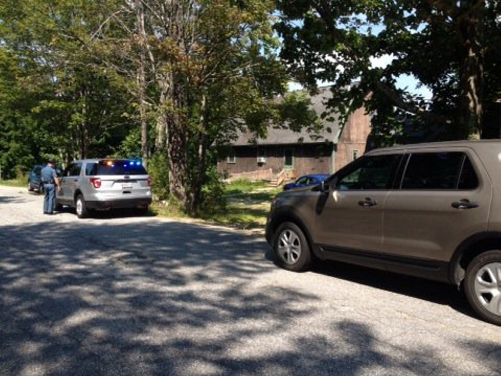 Maine State Police on Monday investigate a shooting on Academy Road in Litchfield.