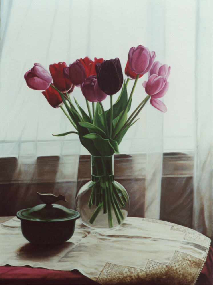 """The Black Tulip,"" oil on canvas by Tamara Richel, will be on display in a group show at the Lakeside Contemporary Art Gallery, in the Lobby of the RFA Lakeside Theater, 2493 Main St. in Rangeley, from Aug. 24 through Sept. 30."