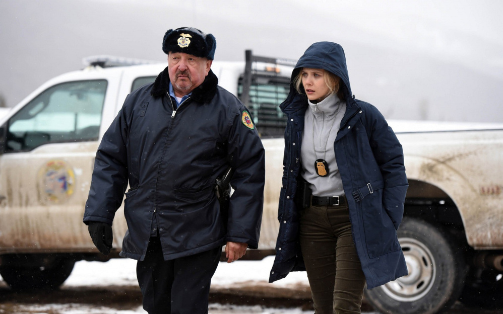 Courtesy photo   Graham Greene, left, and Elizabeth Olsen in 'Wind River.""