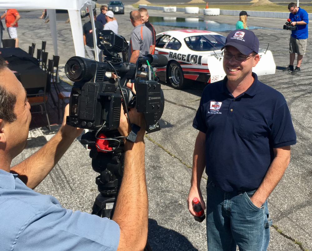 Defending Oxford 250 champ Wayne Helliwell discusses the upcoming race during media day Wednesday at Oxford Plains Speedway.