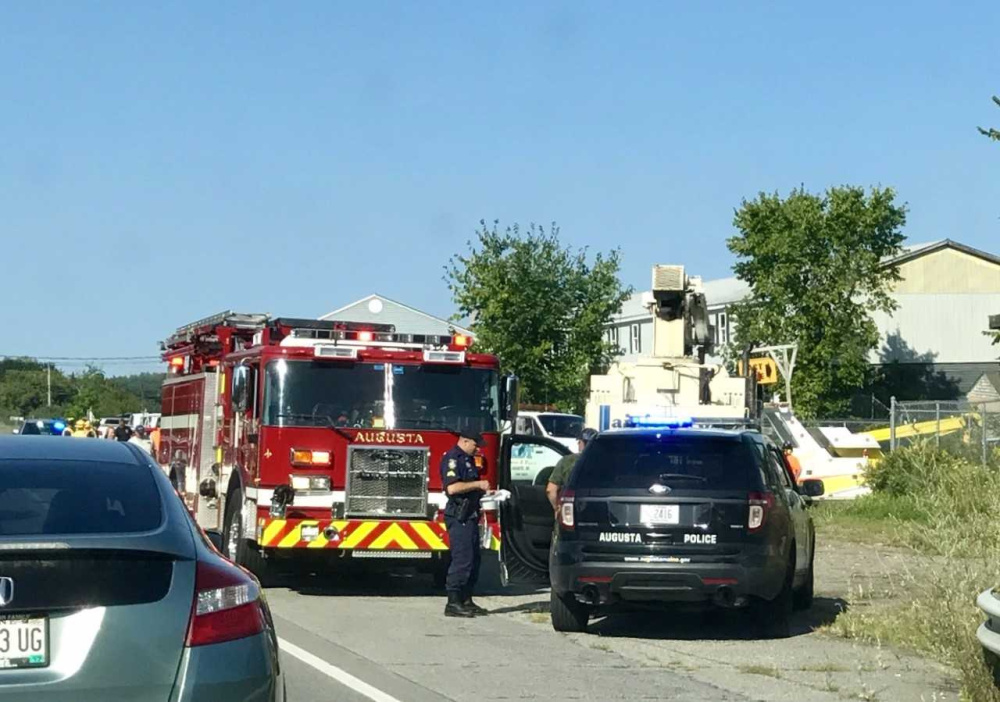 A tractor-trailer rolled over on Route 3 in Augusta on Thursday morning, in a ditch by Lapointe Lumber.