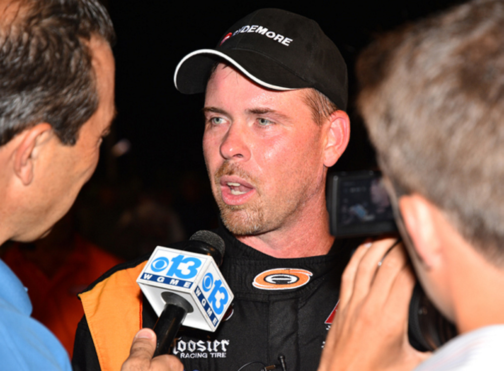 Wayne Helliwell Jr. is interviewed in Victory Lane following his win in the Oxford 250 last August at Oxford Plains Speedway.