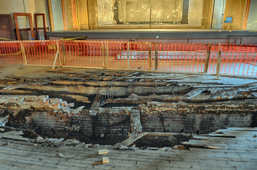 This photo taken on Feb. 10 shows the hole in the floor at the Colonial Theatre in Augusta that will be fixed using money donated by Kennebec Savings Bank.