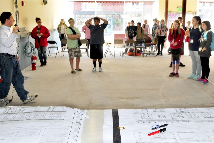 Engineer and building designer Steve Govoni, left, of Wentworth Partners Associates speaks with Cornville Regional School students inside the downtown Skowhegan school site on Monday. Students will learn about the design process and provide input to Govoni and the contractors working on the project in the next couple of weeks.