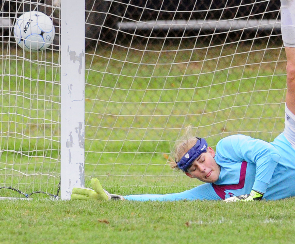 Gardiner Area High School student Tabytha Hembree, 16, shown here playing goalie in a soccer game in September 2016, was seriously injured Thursday when the vehicle she was driving was hit by a dump truck on Route 27 in Pittston. The girl and her brother Alexander, 12, were on their way to school and were both taken to Maine Medical Center in Portland.