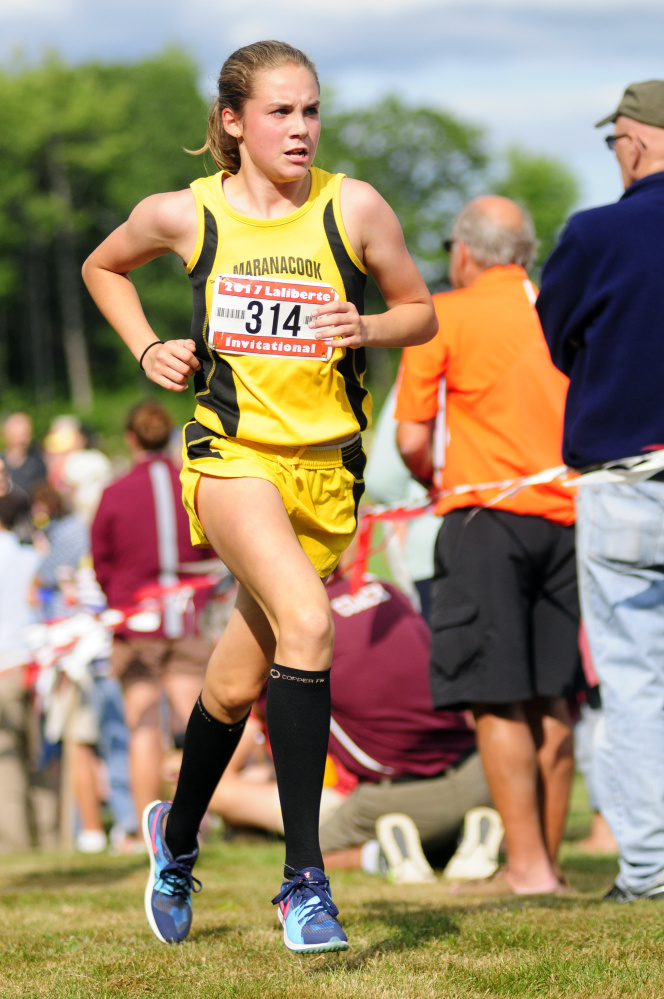 Marancook's Molly McGrail runs during the annual Scot Laliberte Invitational on Aug. 25 at Cony High School in Augusta.