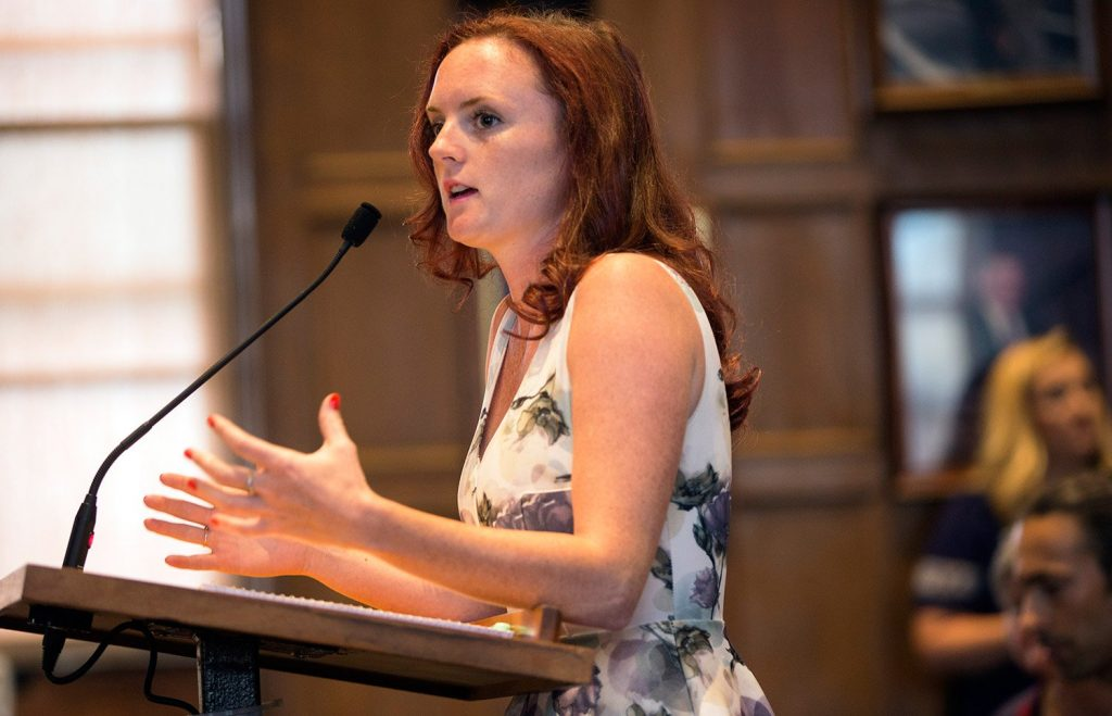 Michaela McVetty, owner of Sisters Gourmet Deli, was among several business owners who urged the Portland City Council on Wednesday night to address problems related to homelessness, mental illness and substance abuse downtown. The issue gained widespread attention after McVetty posted video of man's tirade in her shop.