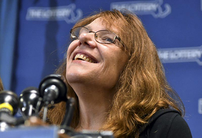 Mavis Wanczyk, of Chicopee, Mass., appears at a news conference after claiming the $758.7 million Powerball prize at Massachusetts State Lottery headquarters, Thursday in Braintree, Mass.