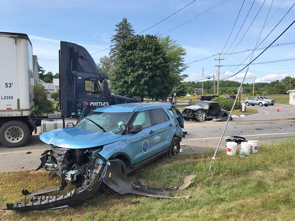 A Maine State Police cruiser was heavily damaged Monday in a crash in Casco at the intersection of routes 121 and 11. The trooper was responding to a reported burglary in Brownfield.