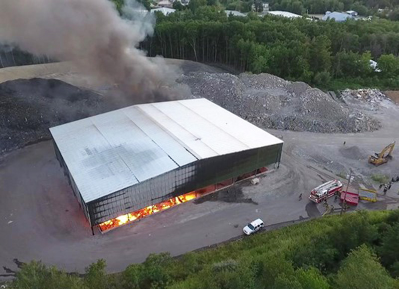 An intense fire at Aggregated Recycling Corp. in Eliot was expected to burn overnight and into the day Monday.