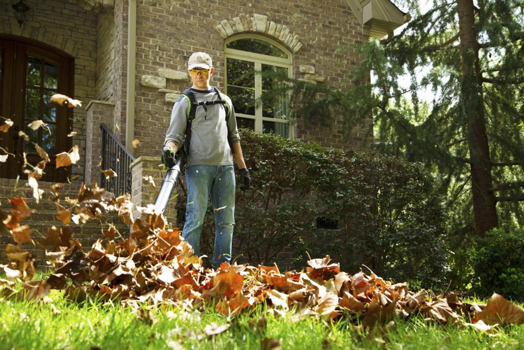 A lightweight leaf-blower can replace the burden of raking.