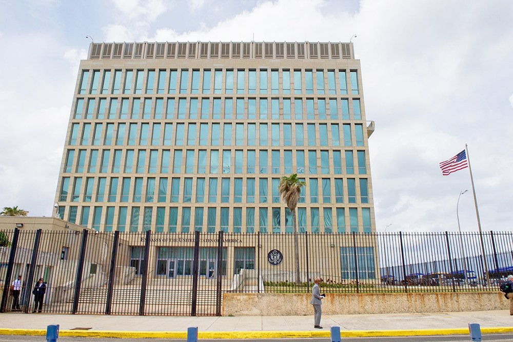 The U.S. Embassy in Havana in a March 22, 2016, photo. Cuba employs a state security apparatus that keeps untold numbers of people under surveillance and U.S. diplomats are among the most closely monitored people on the island.