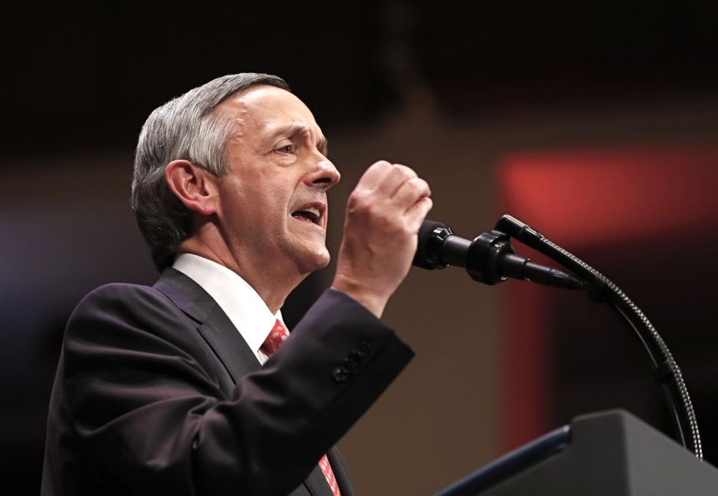 "Pastor Robert Jeffress of the First Baptist Dallas Church  introduces President  Trump during the Celebrate Freedom event at the Kennedy Center in Washington on July 1, 2017. ""A Christian writer asked me, 'Don't you want the president to embody the Sermon on the Mount?' "" he saiys, referring to Jesus' famous sermon. ""I said absolutely not."""