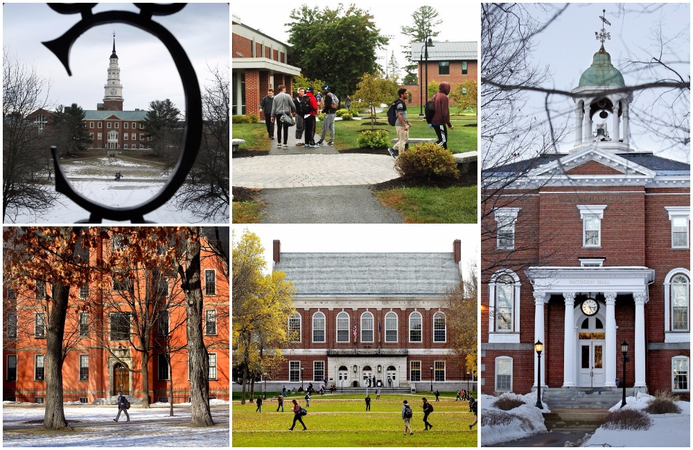 Scenes from (clockwise from top left) Colby College, Thomas College, Bates College, The University of Maine in Orono and Bowdoin College.