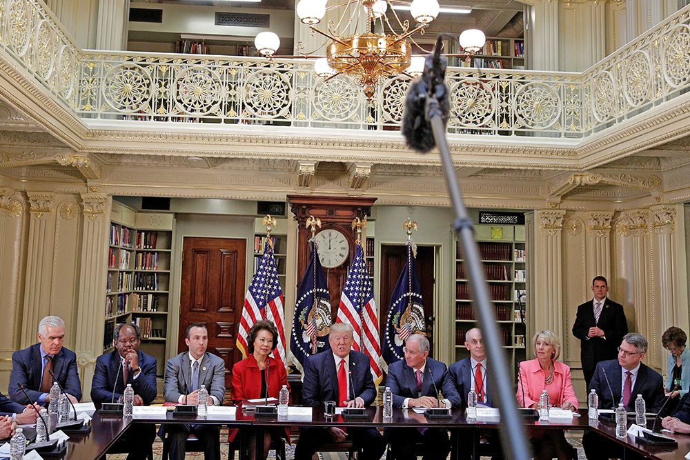 President Trump speaks at a strategic and policy CEO discussion in Washington on April 11, 2017.