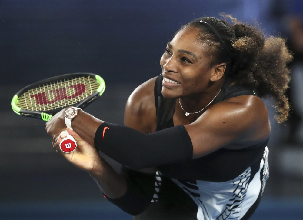 Serena Williams, shown in January, is reported to have given birth to a girl on Friday.