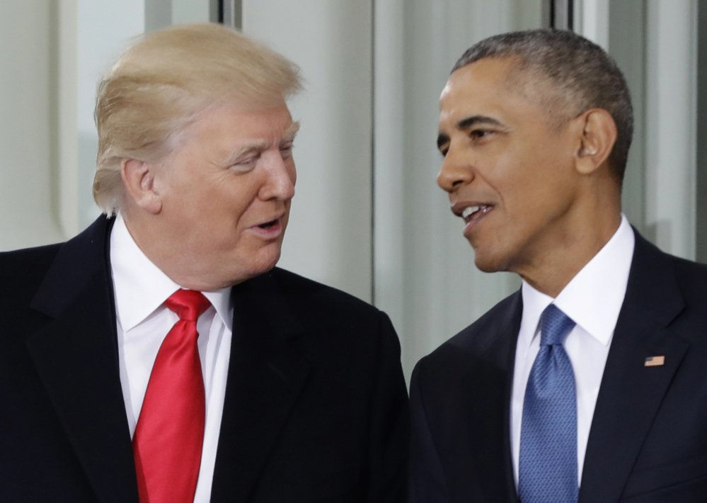 President Obama talks with President-elect Trump on Jan. 20. Before he left office in January, Obama offered his successor accolades and advice in a private letter.