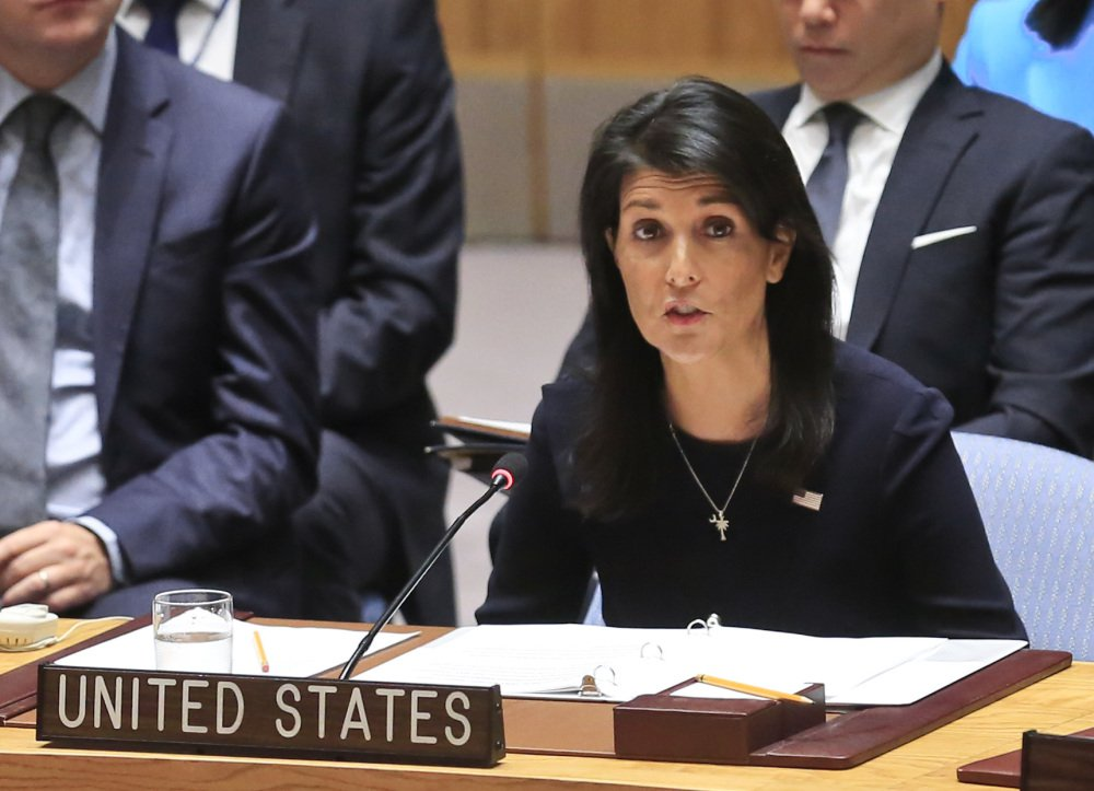 "U.S. Ambassador Nikki Haley addresses the U.N. Security Council on North Korea on Monday. She said, ""War is never something the United States wants. ... But our country's patience is not unlimited."""