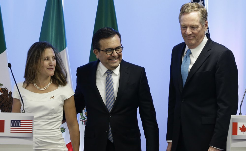 Canadian Foreign Affairs Minister Chrystia Freeland, Mexico's Economy Secretary Ildefonso Guajardo and U.S. Trade Representative Robert E. Lighthizer address the media.