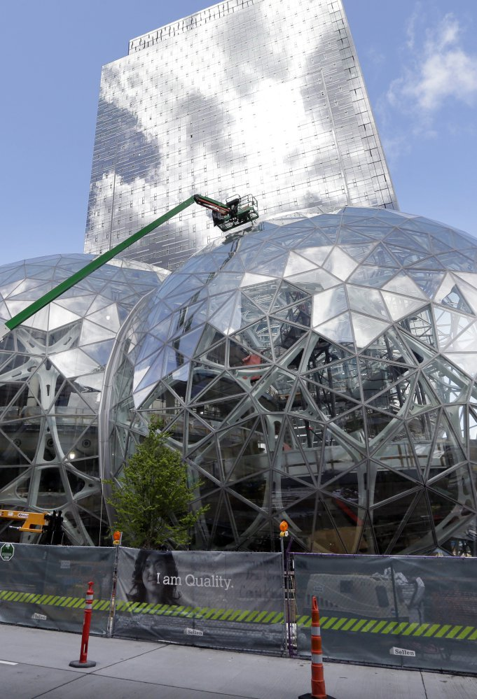 Three glass-covered domes were built as part of a 2017 Amazon campus expansion in Seattle. The company's second home is expected to cost more than $5 billion.