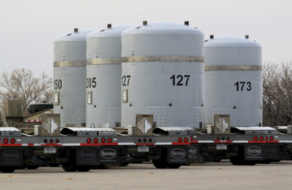 Empty nuclear waste shipping containers sit in front of the Waste Isolation Pilot Plant near Carlsbad, N.M., which federal auditors say is running low on storage space.