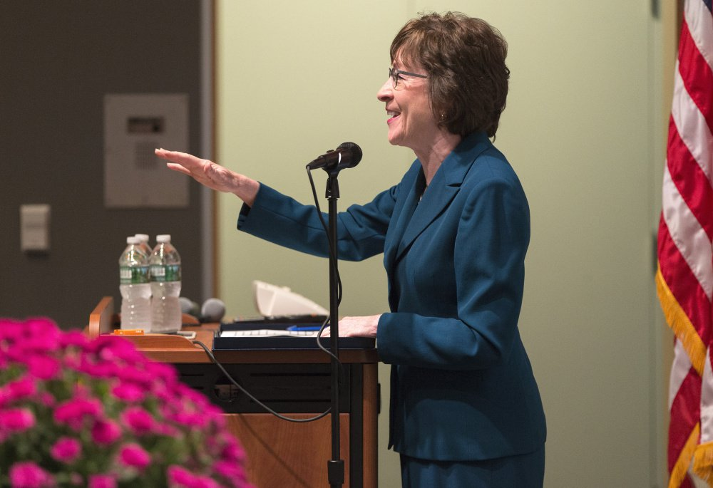 U.S. Sen. Susan Collins speaks during an event at York County Community College on Friday. Collins said she would decide within a month whether to run for governor, affirmed her belief that global climate change is scientifically proven, and reiterated that something must be done to curb the heroin crisis in Maine.