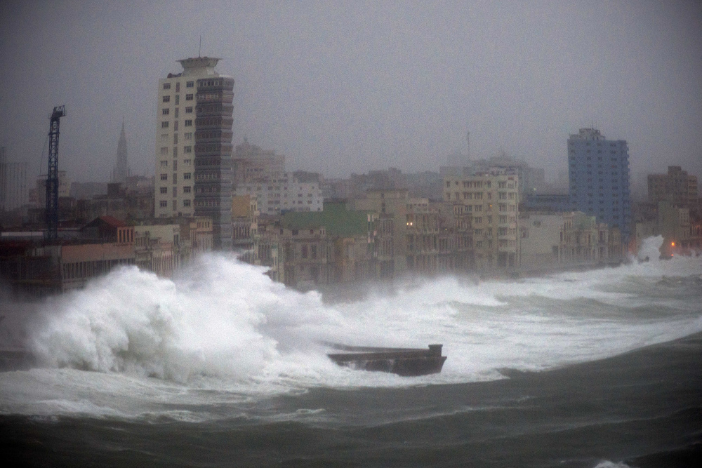 Strong waves brought by Hurricane Irma hit the Malecon seawall in Havana, Cuba, late on Saturday.