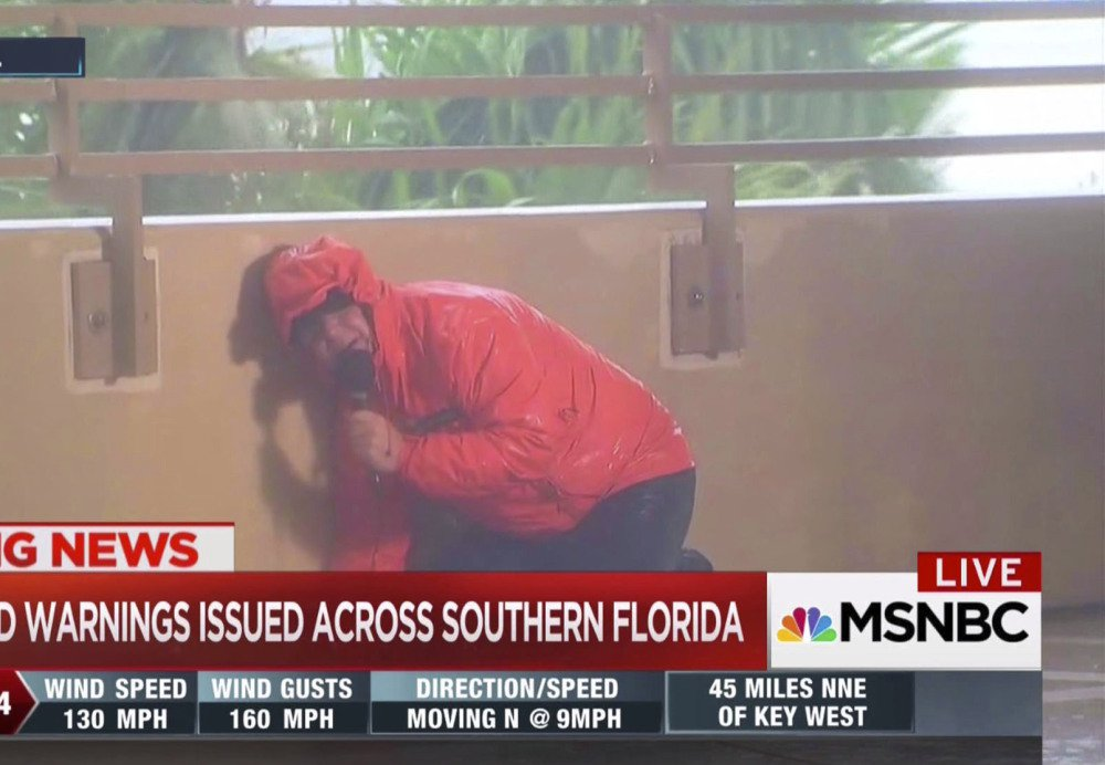 MSNBC's Kerry Sanders reports on Hurricane Irma in Naples, Fla., on Sunday. Networks brought in their top teams over the weekend.