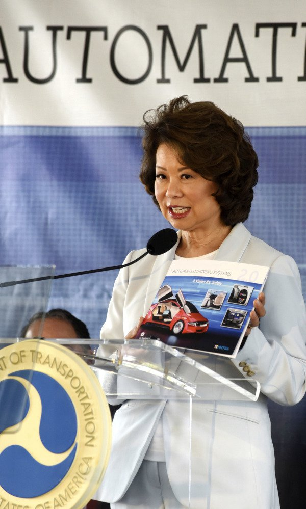 At a testing facility Tuesday in Michigan, Transportation Secretary Elaine Chao said updated safety guidelines for self-driving cars seek to clear barriers for automakers and tech companies while maintaining driver safety.