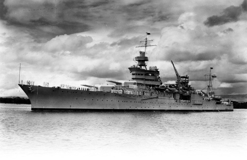 The USS Indianapolis is underway in Pearl Harbor in 1937, eight years before Japanese torpedoes sank the ship in the single-largest loss of life at sea for the U.S. Navy.