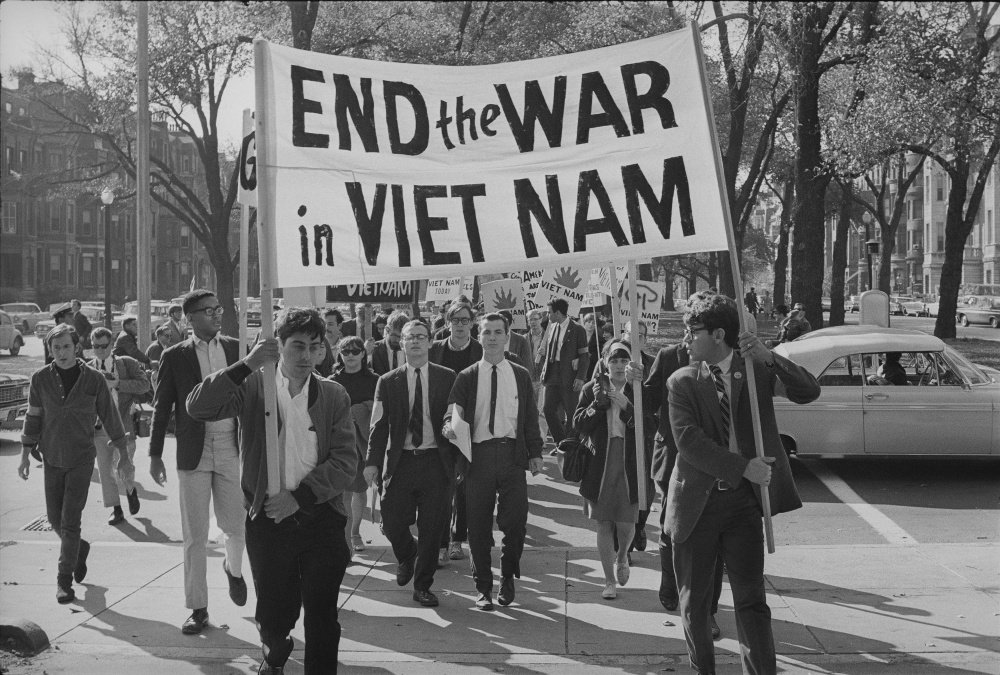 College students march against the war in Boston. October 16, 1965.